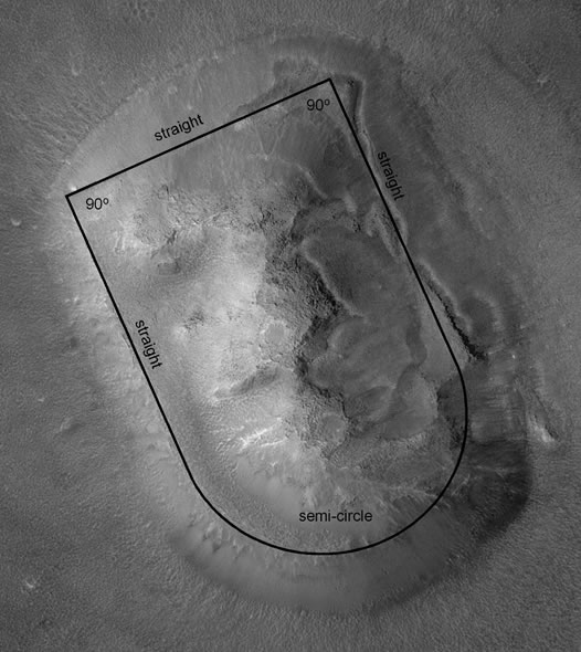 Cydonia, Mars with outline